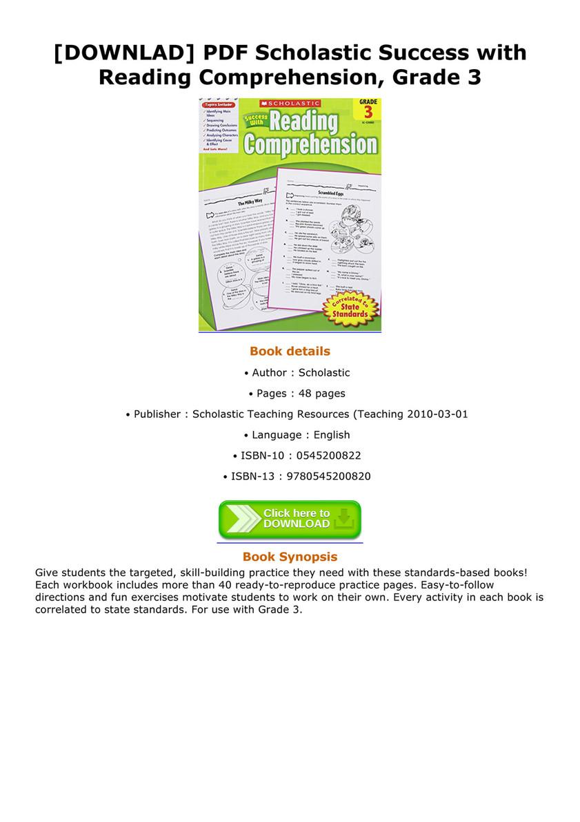Danzy - DOWNLAD PDF Scholastic Success with Reading Comprehension