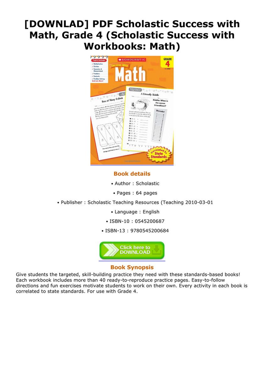 [DOWNLAD] PDF Scholastic Success with Math, Grade 4 (Scholastic Success  with Workbooks