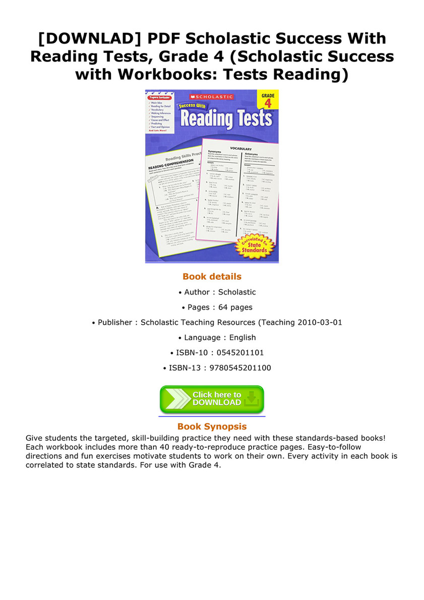 Wilburn - DOWNLAD PDF Scholastic Success With Reading Tests Grade 4