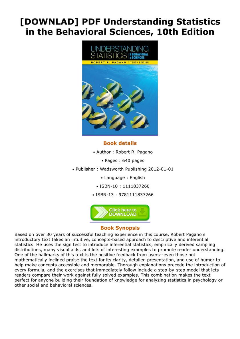[DOWNLAD] PDF Understanding Statistics in the Behavioral Sciences, 10th  Edition Understanding Statistics in
