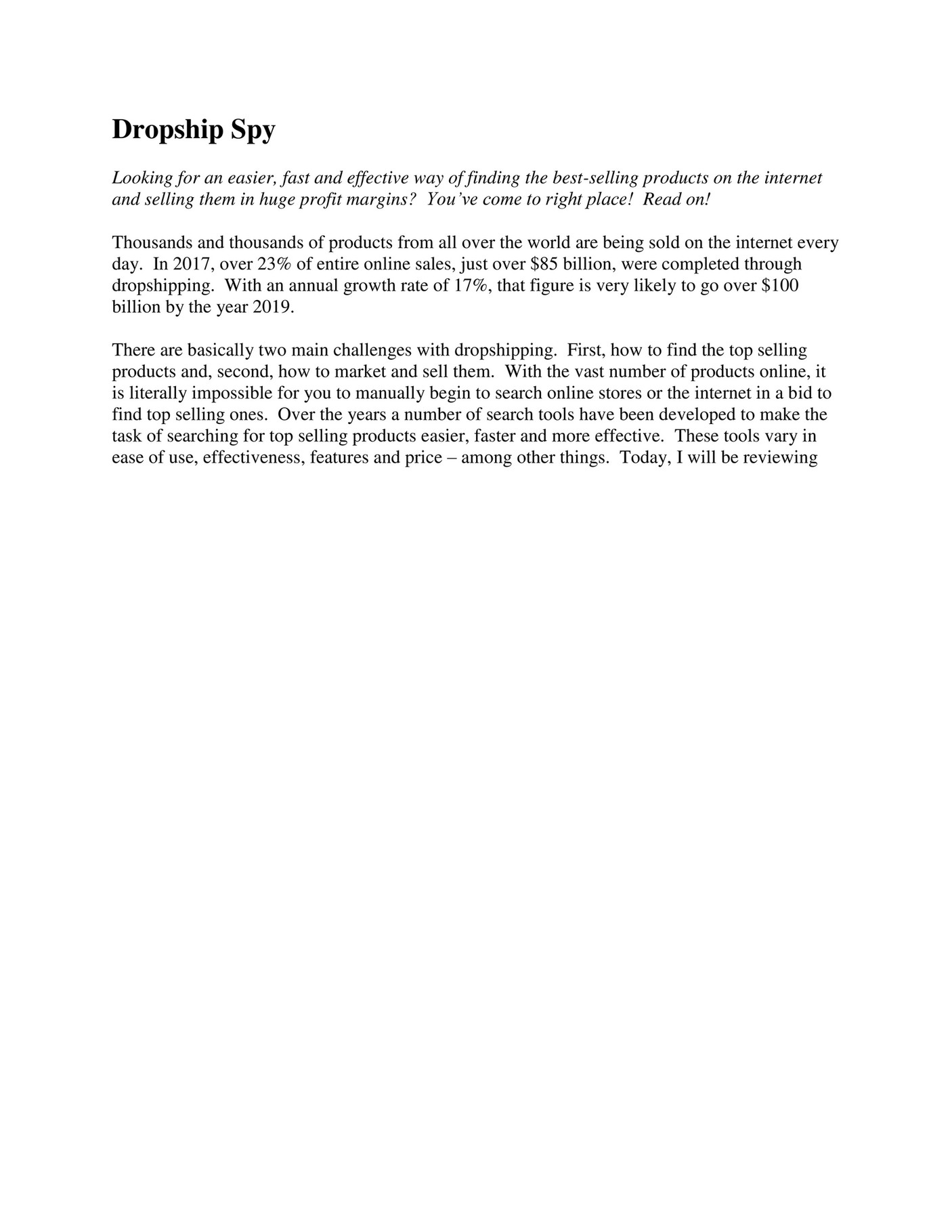 My publications - Dropship Spy Review - Page 1 - Created