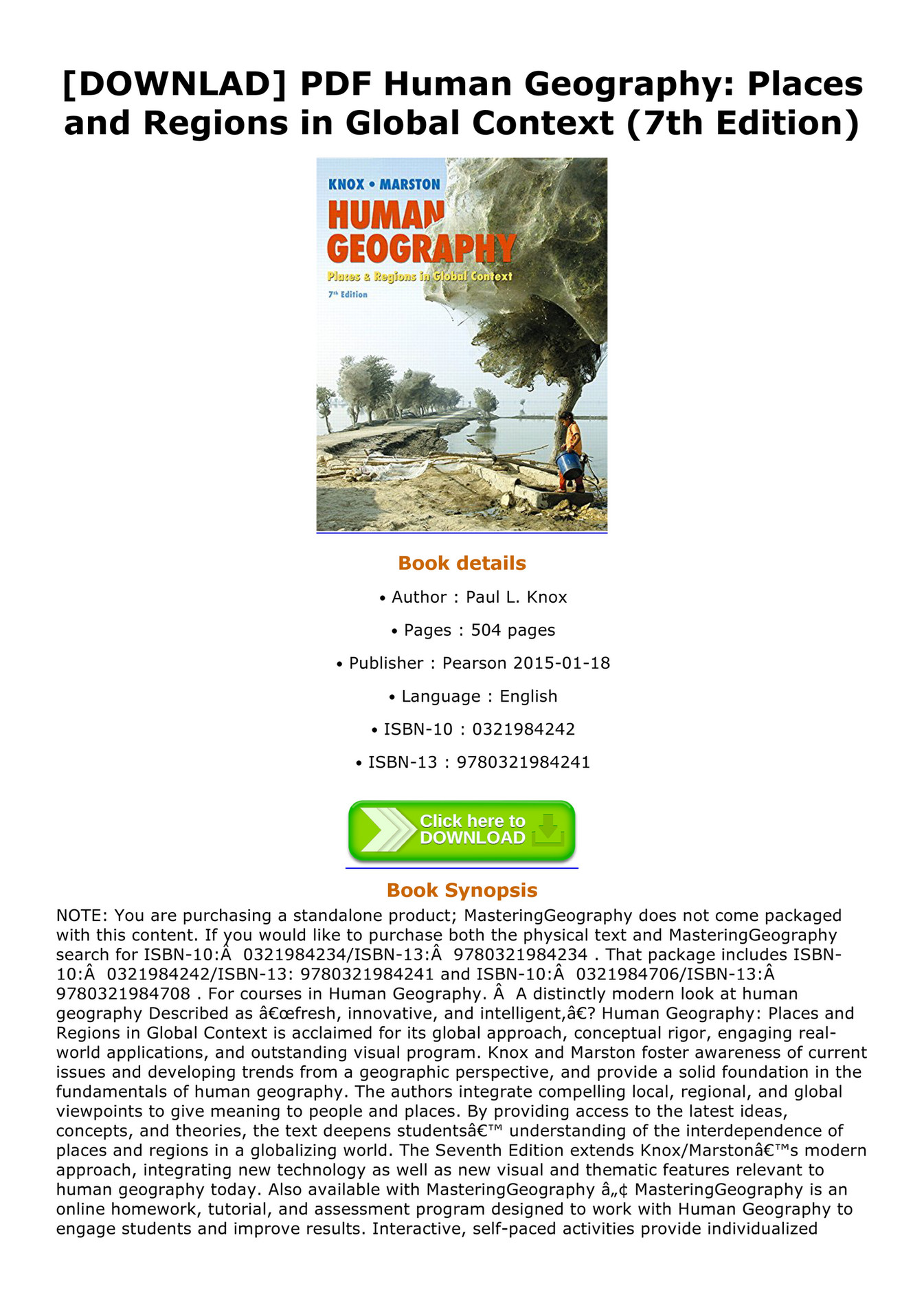 Human Geography Places And Regions In Global Context Pdf