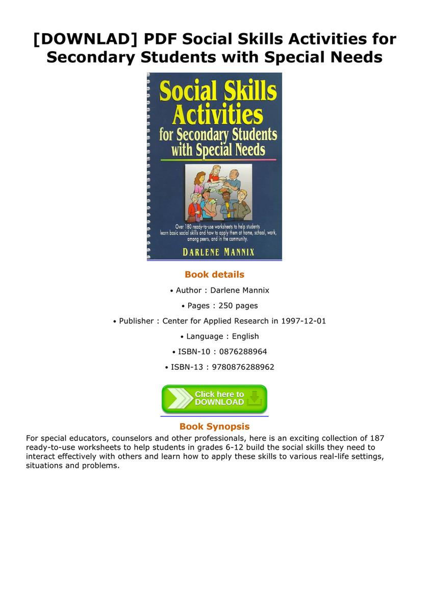 Allen - DOWNLAD PDF Social Skills Activities for Secondary