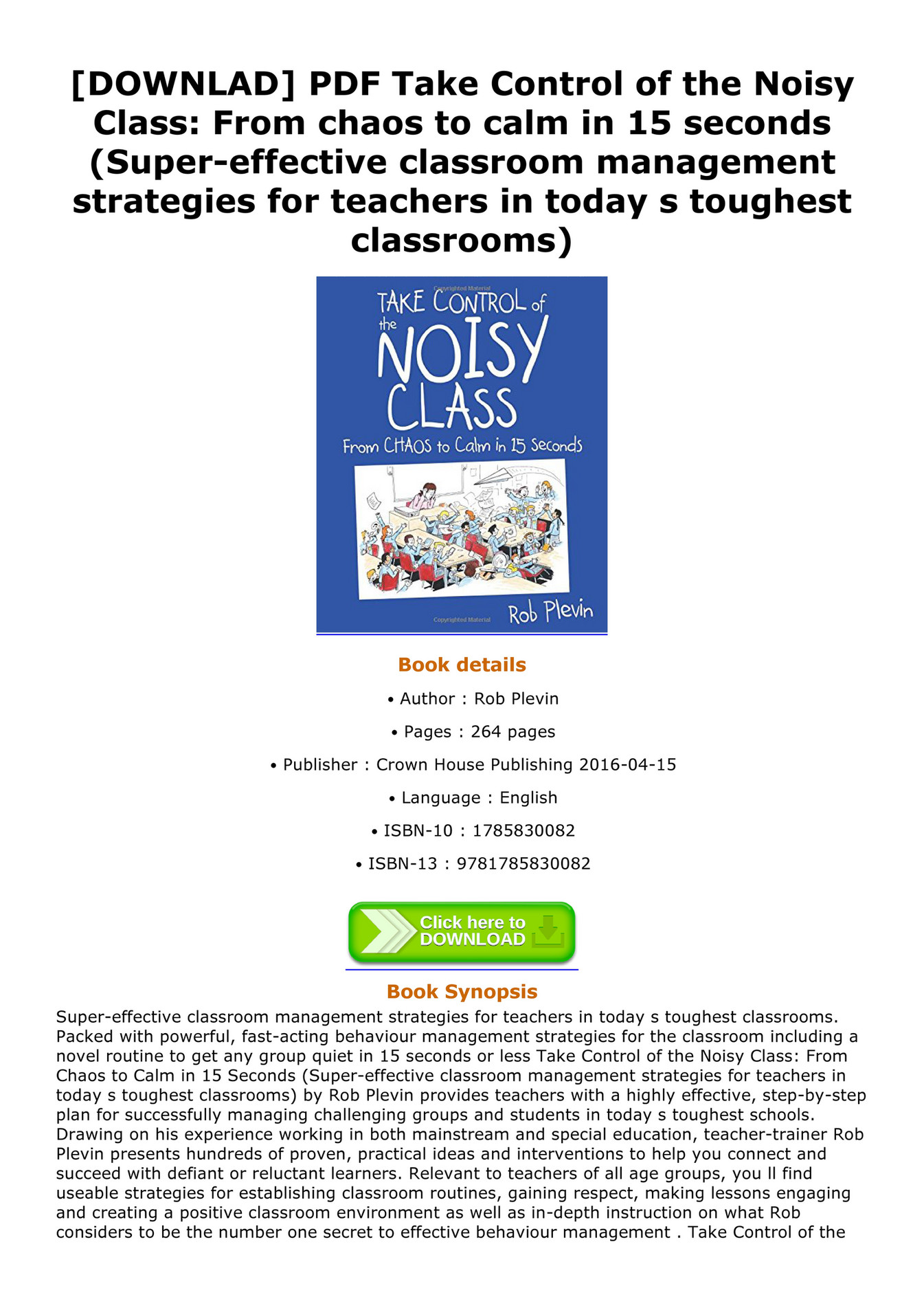 Allen - DOWNLAD PDF Take Control of the Noisy Class From chaos to
