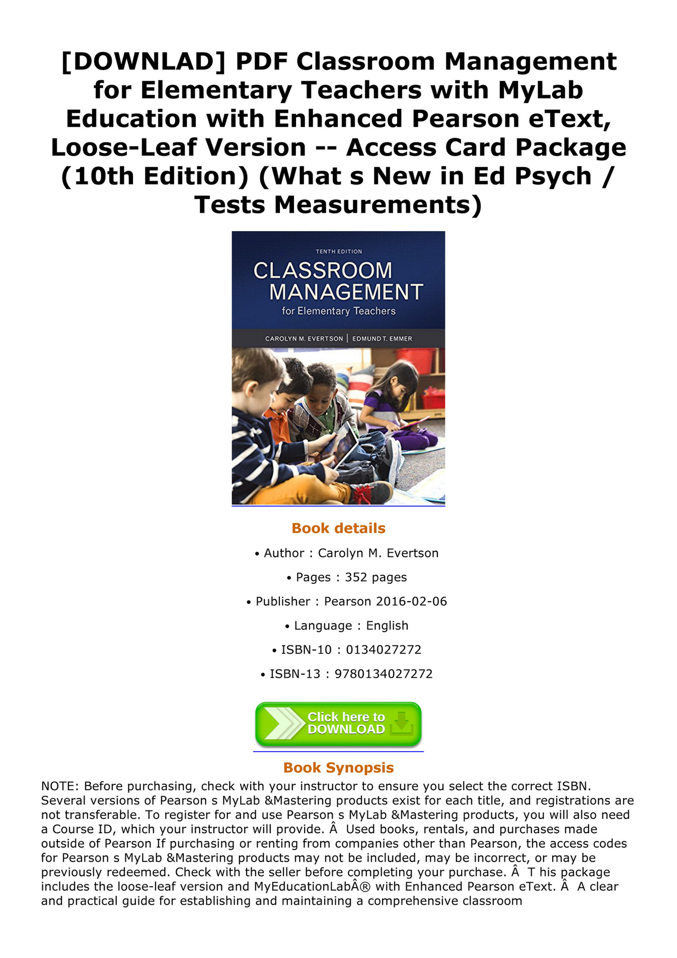 Weston Downlad Pdf Classroom Management For Elementary Teachers