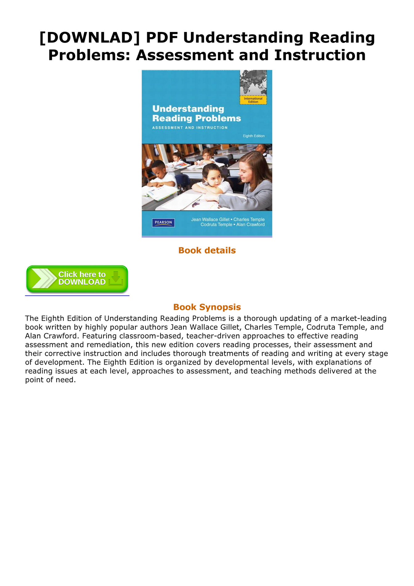 Pdf understanding reading problems: assessment and instruction, pears….