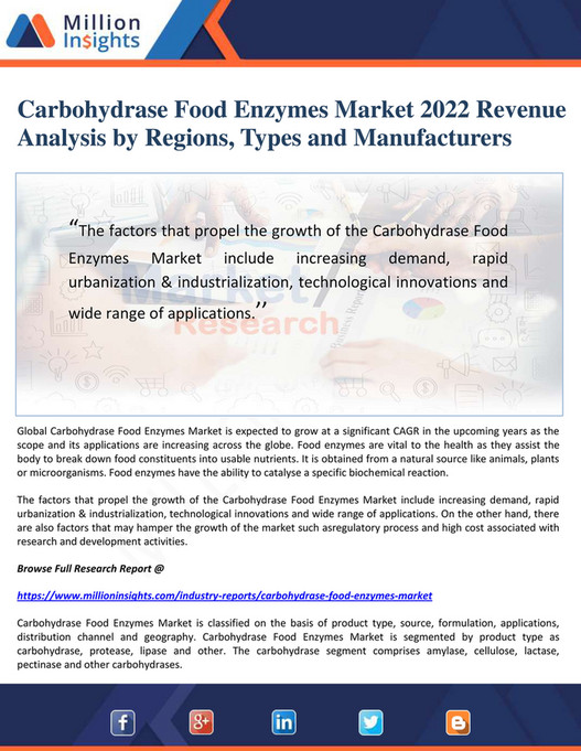 Million Insights - Carbohydrase Food Enzymes Market 2022 Revenue