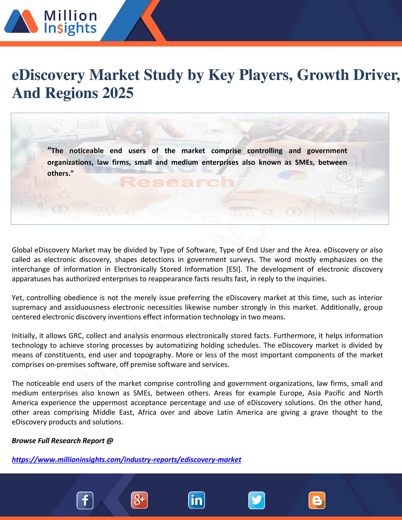 Million Insights - eDiscovery Market Study by Key Players, Growth
