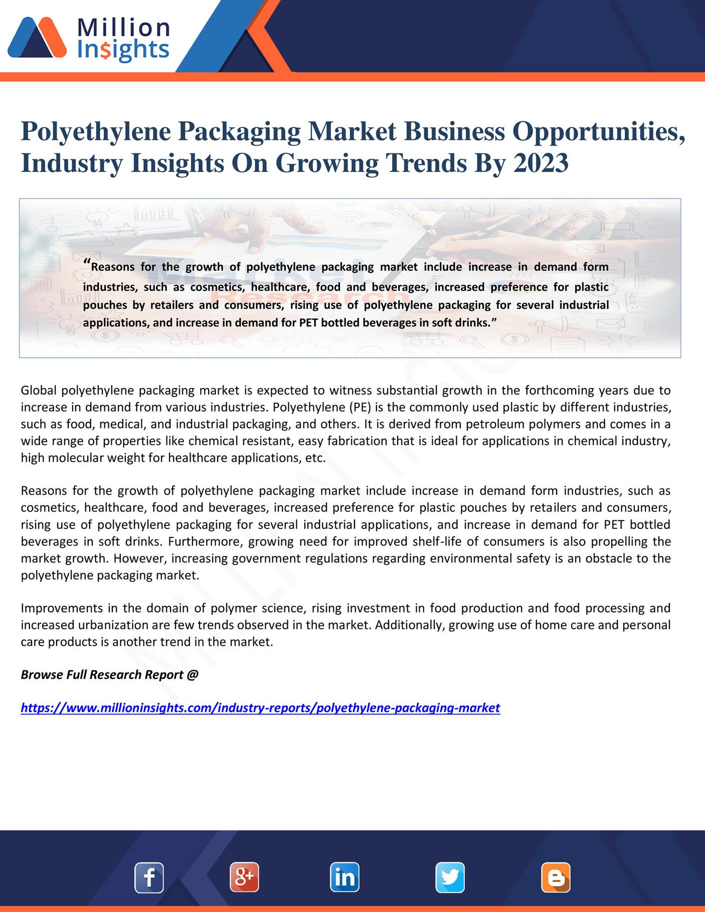Million Insights - Polyethylene Packaging Market Business