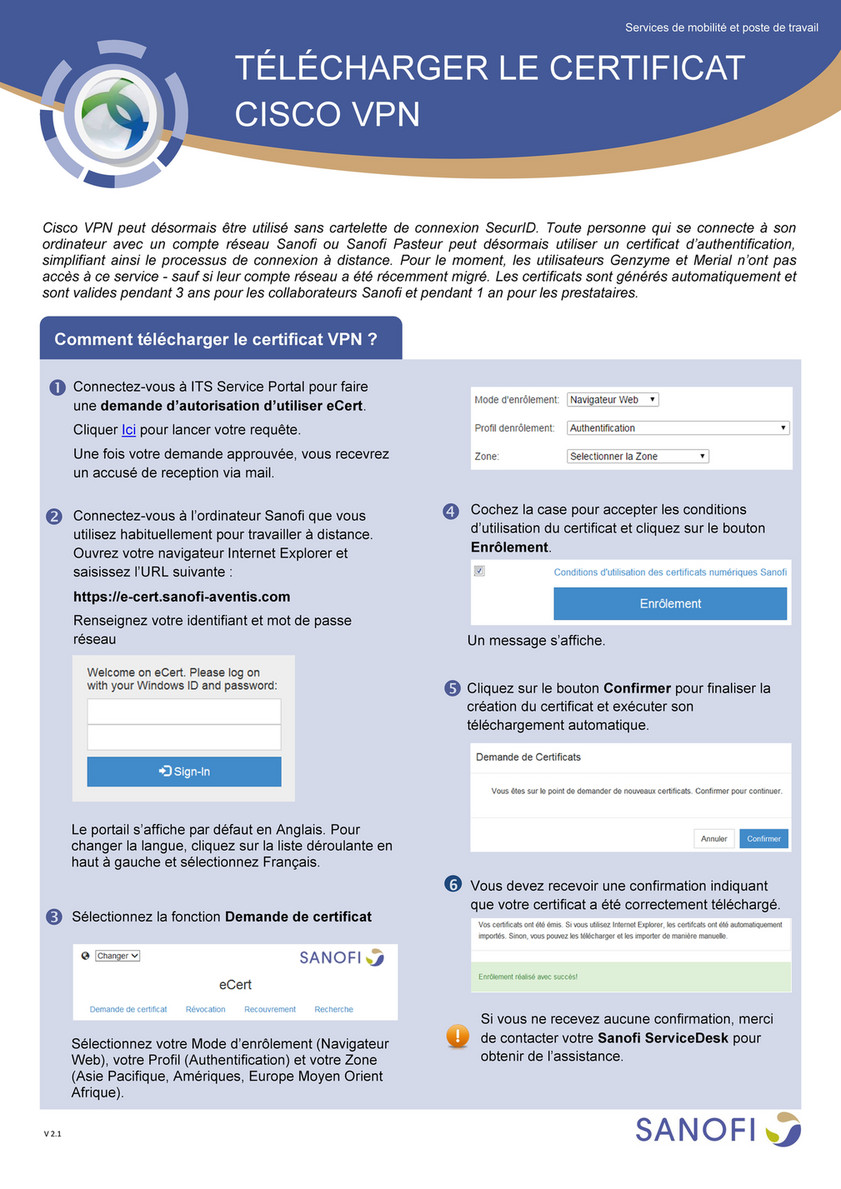 SANOFI - Access Cisco VPN - Certificate Download and Usage_FR-v7 0