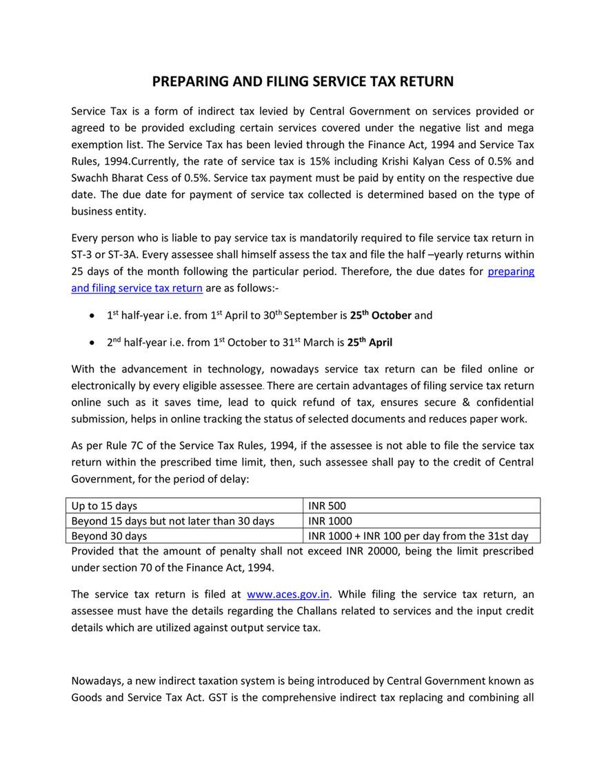 Service Tax Act Pdf