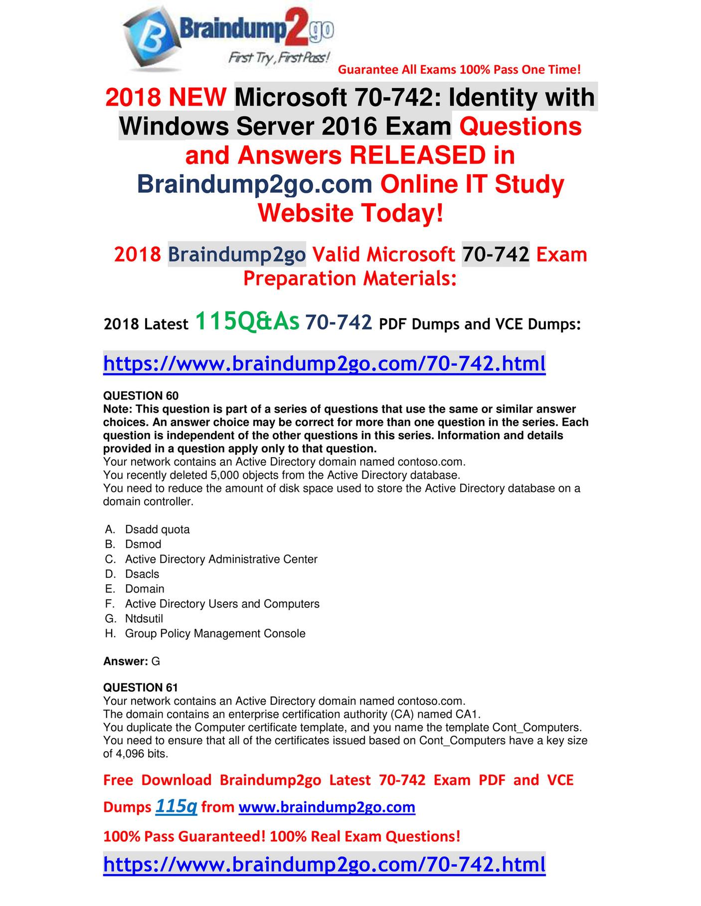 My publications - [Free-Version]2018 Braindump2go New 70-742 Dumps