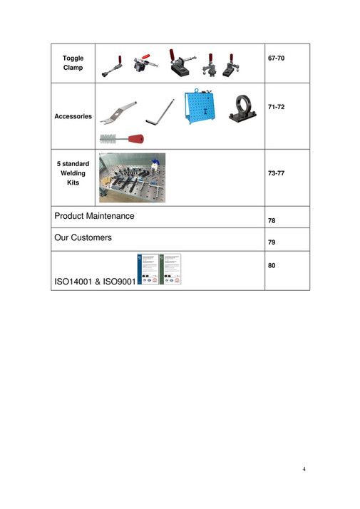 toggle clamp 67-70 71-72 accessories 5 standard welding kits product  maintenance our 3d welding table