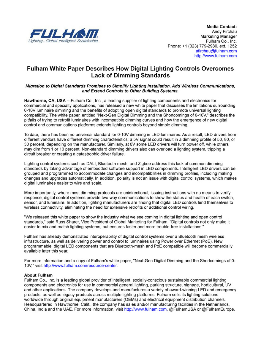 Star One Public Relations Fulham White Paper Describes How Digital Explains The Two Most Common Methods For Wiring A Basic Light Switch Lighting Controls Overcomes Lack Of Dimming Standards Page 1 Created With Publitas