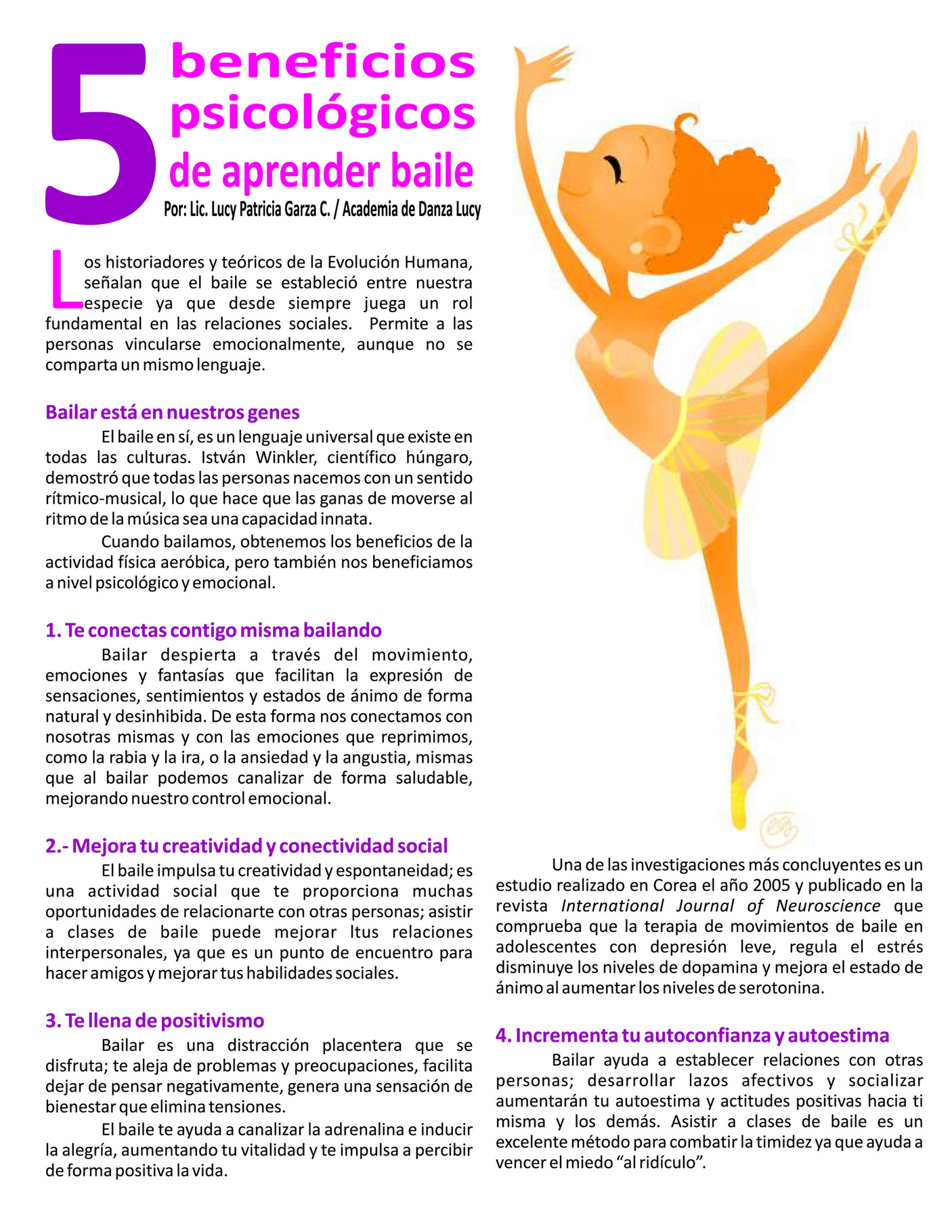 Academia De Danza Lucy 5 Beneficios Psicológicos De Aprender A Bailar Page 1 Created With Publitas Com