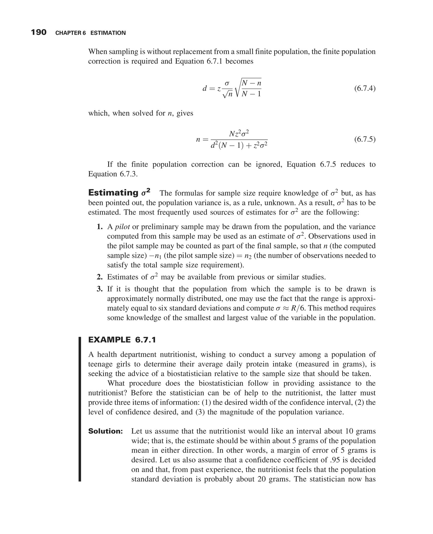Standard Error Using Formula 8 Determination Of Sample Size For Estimating  Proportions 191 The Necessary Rmation