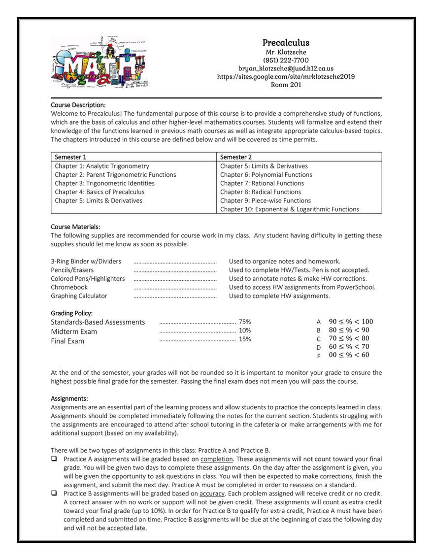 My publications - Precalculus Semester 2 Syllabus 2018-19 - Page 1