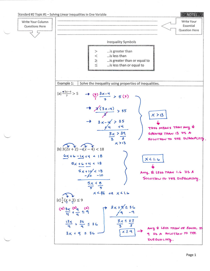 My publications - Standard 2 Topic 1 - Solving Linear
