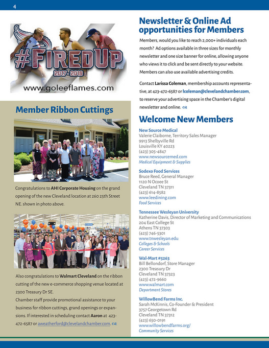 Cleveland/Bradley Chamber of Commerce - 225 Keith News! (July 2018