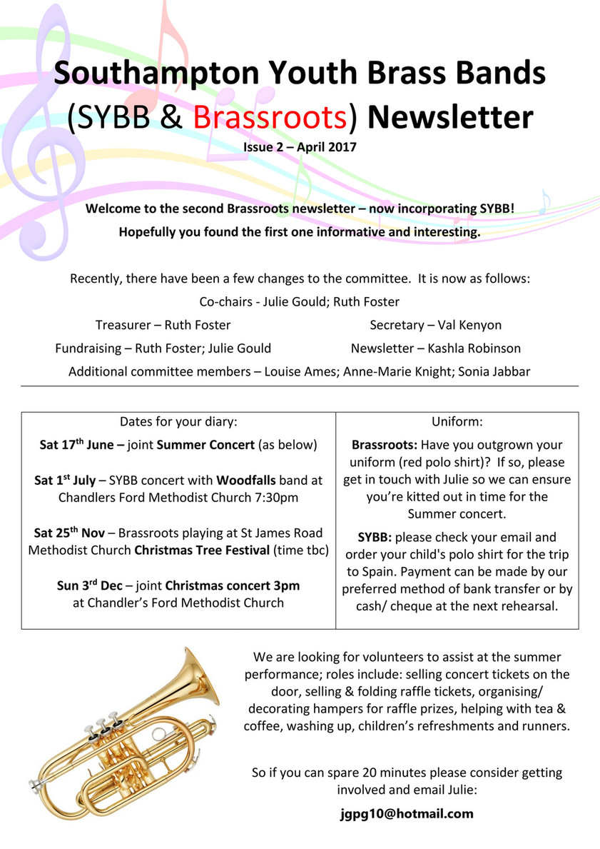 My publications - Friends of Youth Brass Bands Newsletter - April (1
