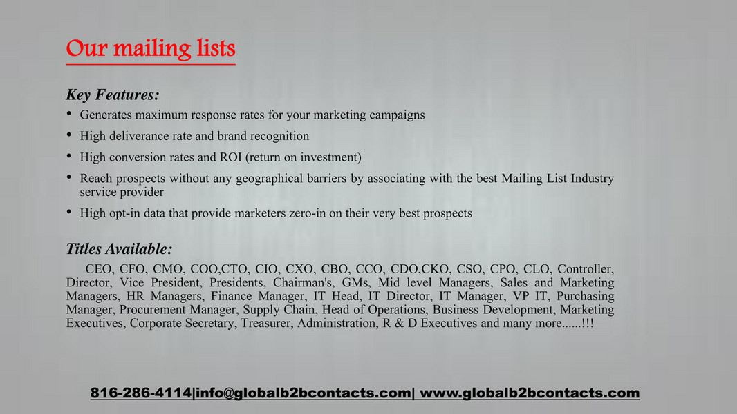 Globalb2bcontacts - Chief Financial Officers (CFO) Email,Phone