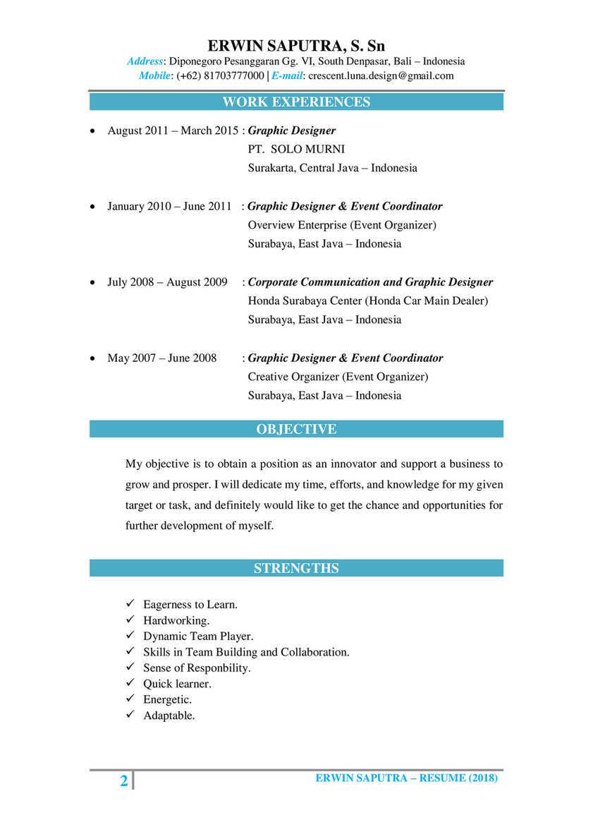 Erwin Saputra Resume Cv Erwin Saputra Page 2 Created With