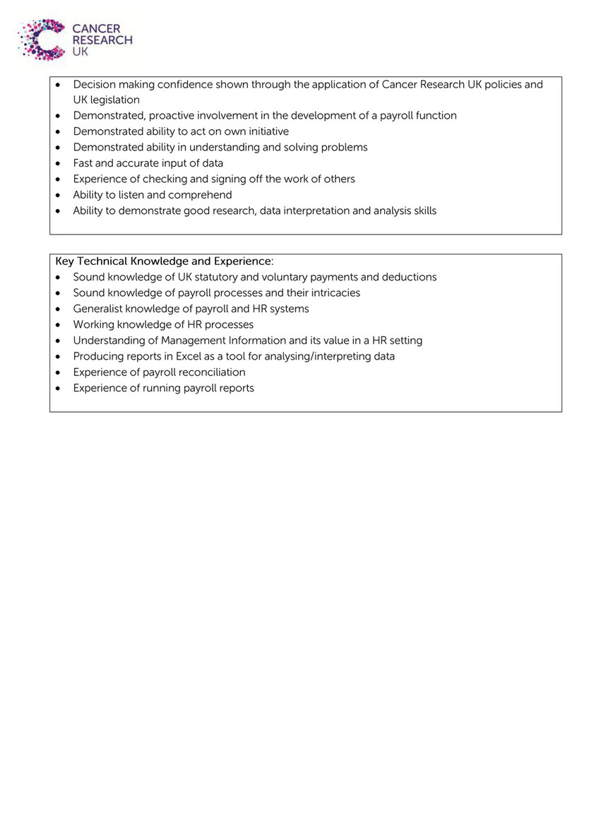 Cancer Research UK - Role Profile Payroll Advisor - Page 1