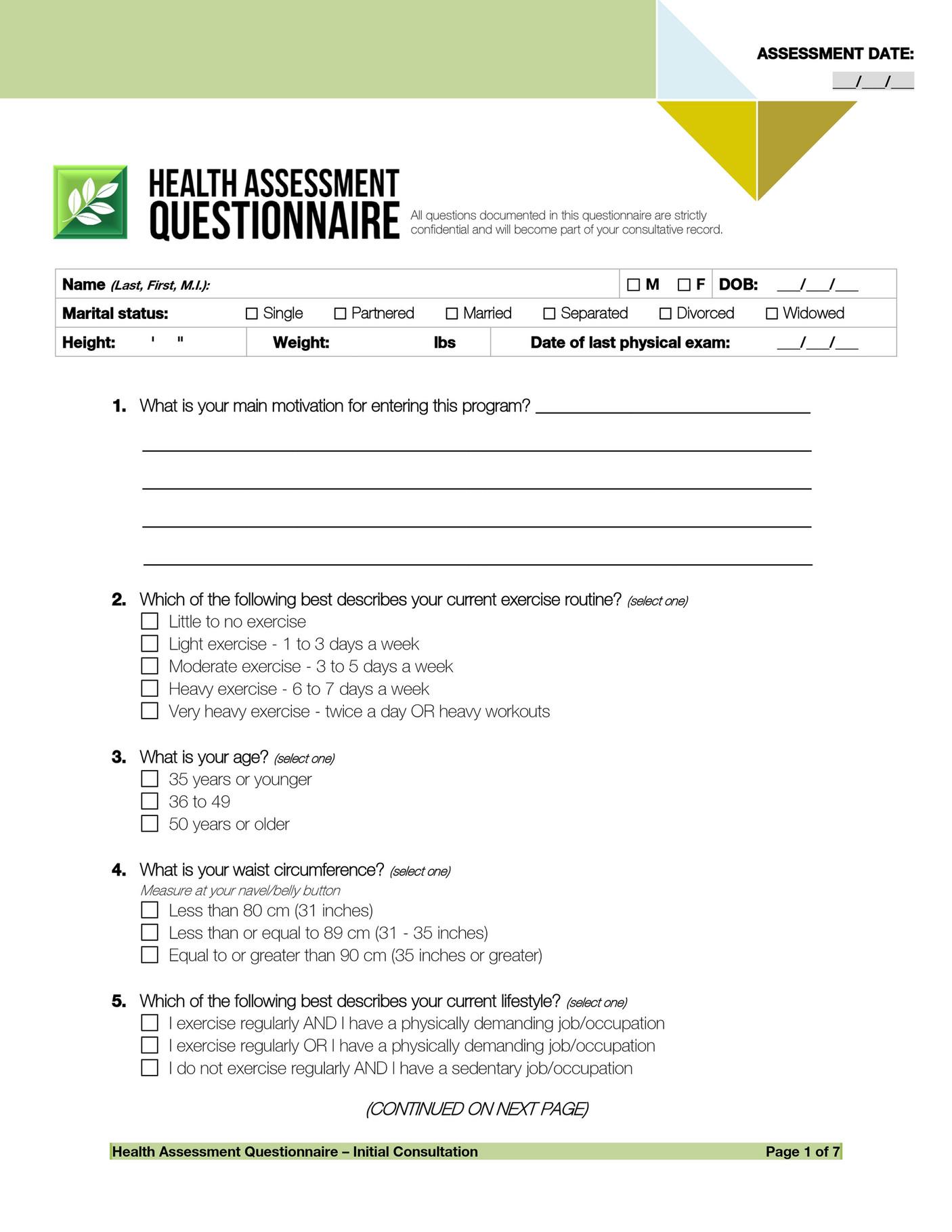 Trinh International - Health Assessment Form - Page 1