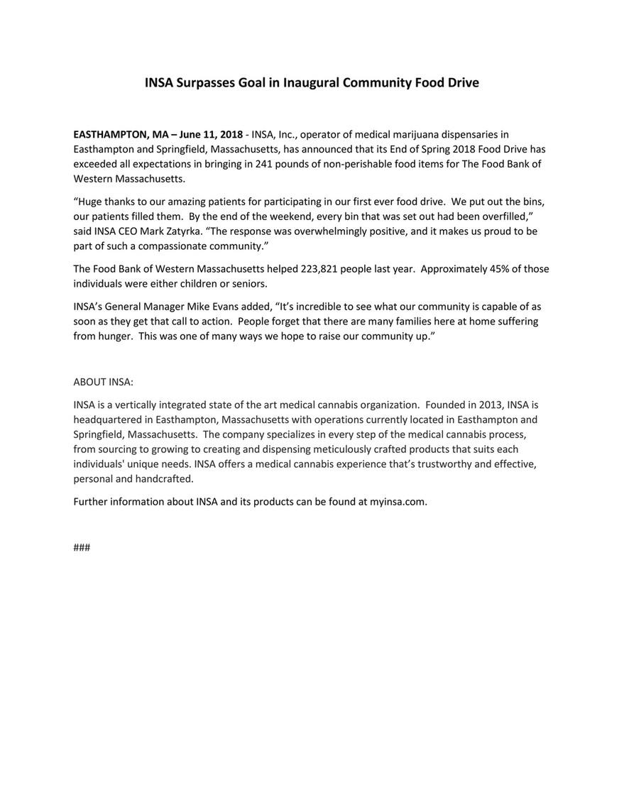 INSA, inc  - Food Drive Press Release 6/12/18 - Page 1