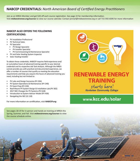 Midwest Renewable Energy Association (MREA) - 2018 MREA Training