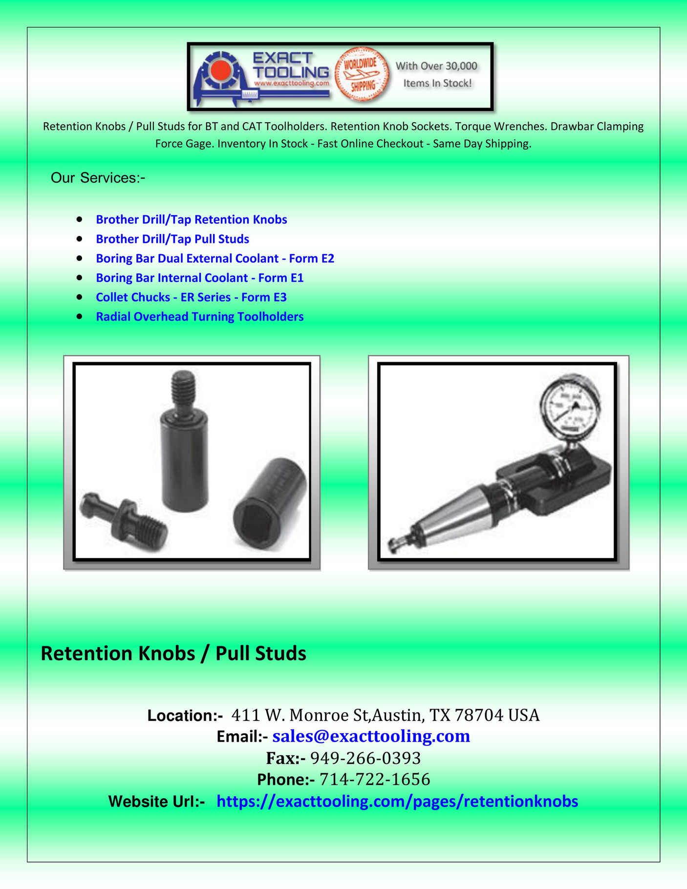 seo - Brother Drill Tap Retention Knobs - Page 1 - Created with