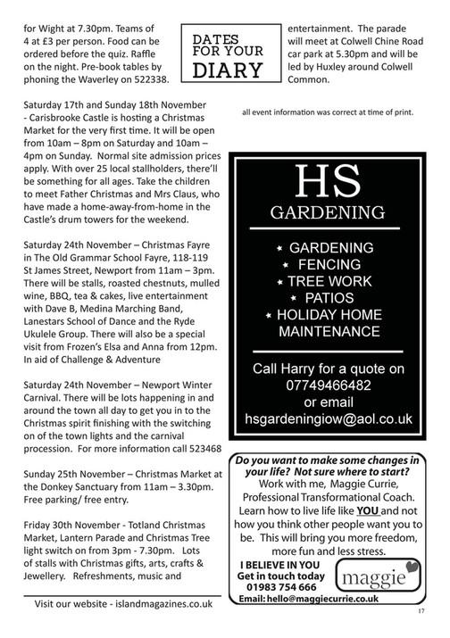 Island Magazines Freshwater, Totland & Yarmouth November