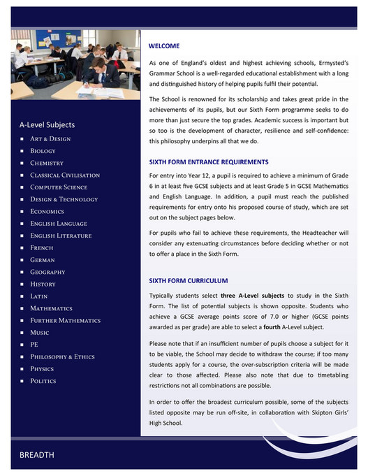 Ermysted's Grammar School - EGS Sixth Form Information Booklet 2019