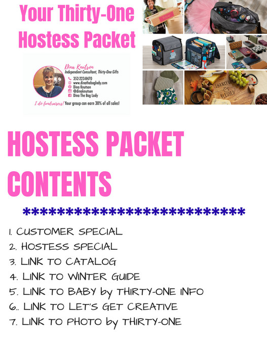 Dina The Bag Lady Your Thirty One Hostess Packet Page 1