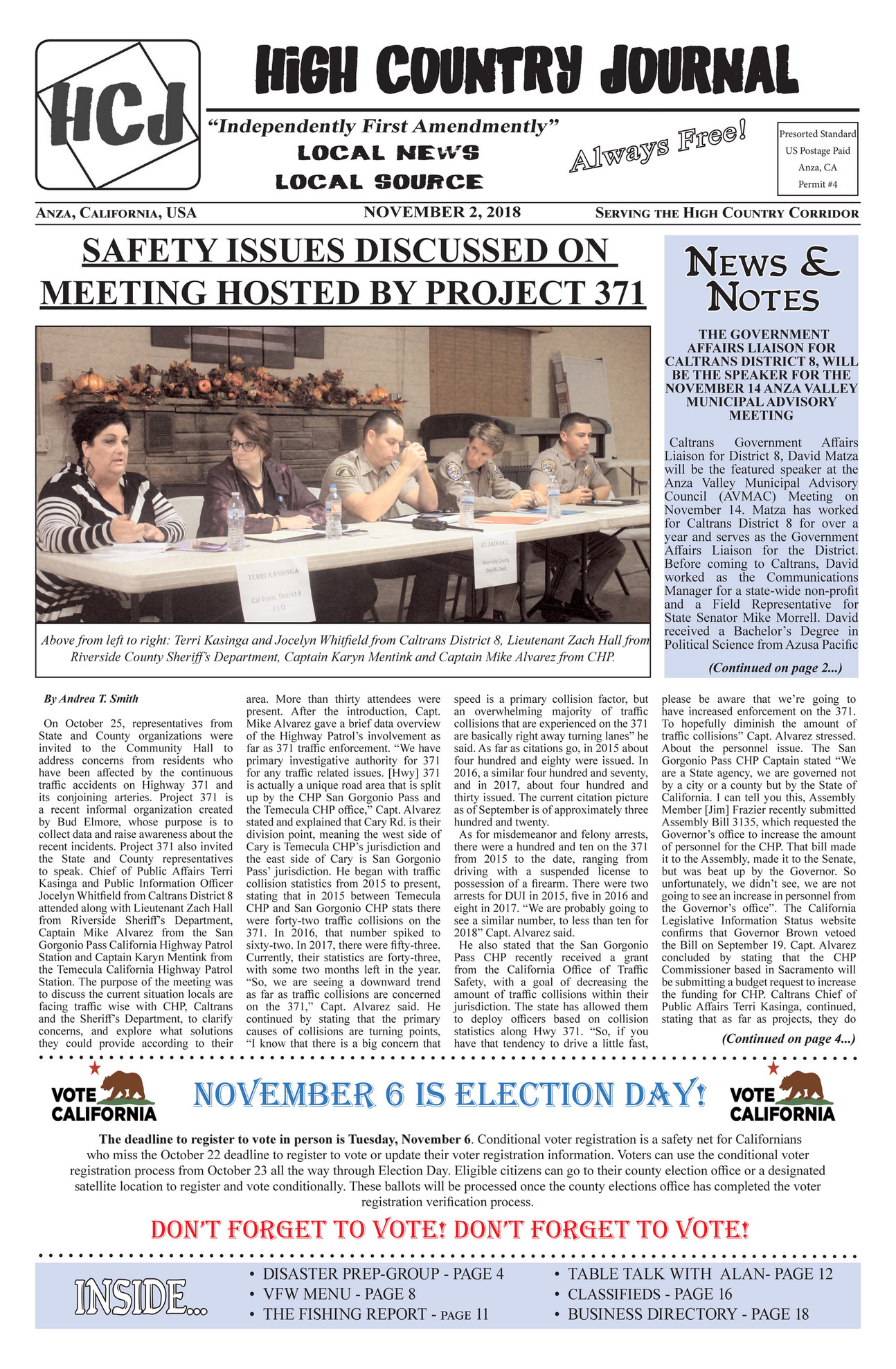 High Country Journal - HCJ-NOV-2-2018 - Page 1 - Created