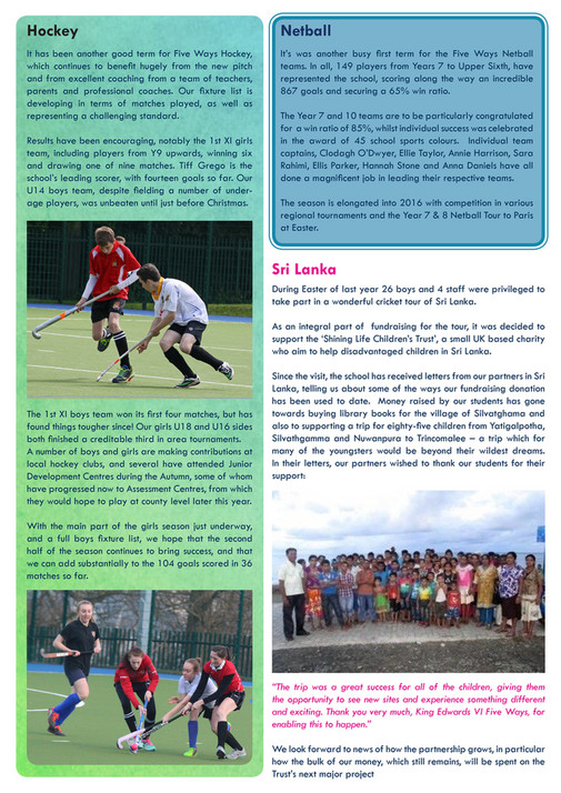 King Edward VI Five Ways Schoo - Focus Five Ways Spring 2016