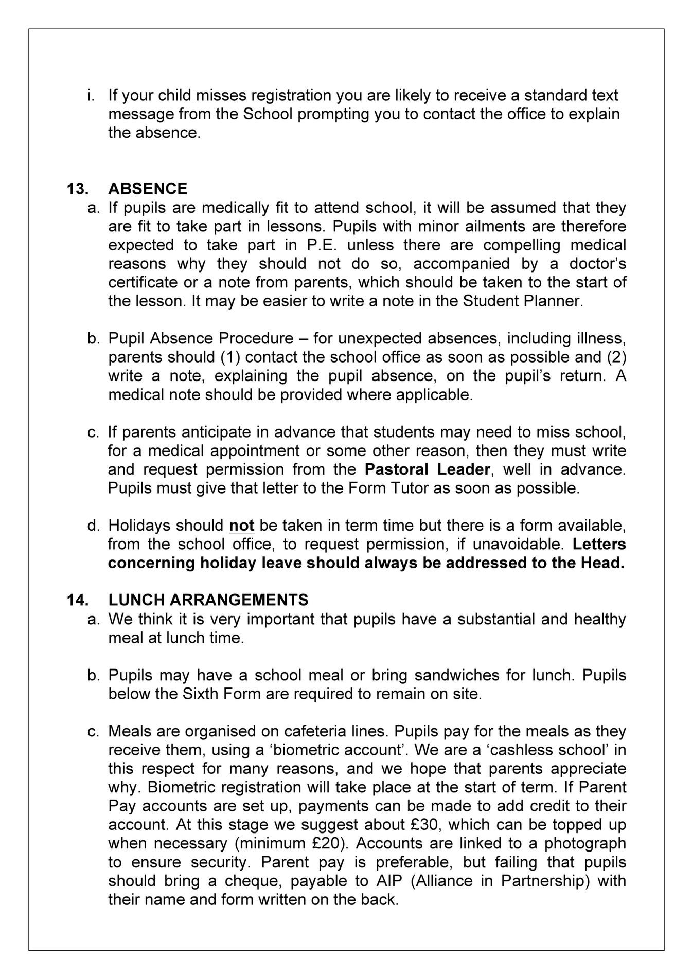 King Edward VI Five Ways Schoo GuidanceNotesforPupilsand – Absence Note