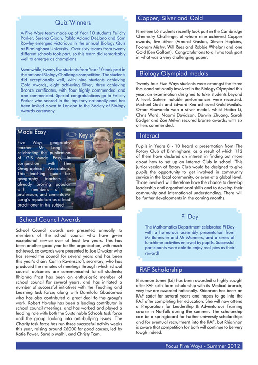 King Edward VI Five Ways Schoo - Focus Five Ways July 2012 - Page 8