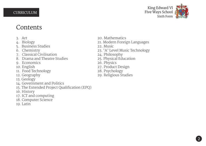 King Edward VI Five Ways Schoo - Sixth Form Curriculum 2014