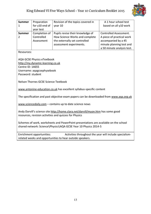 King Edward VI Five Ways Schoo - Year 10 Curriculum Booklet - Page