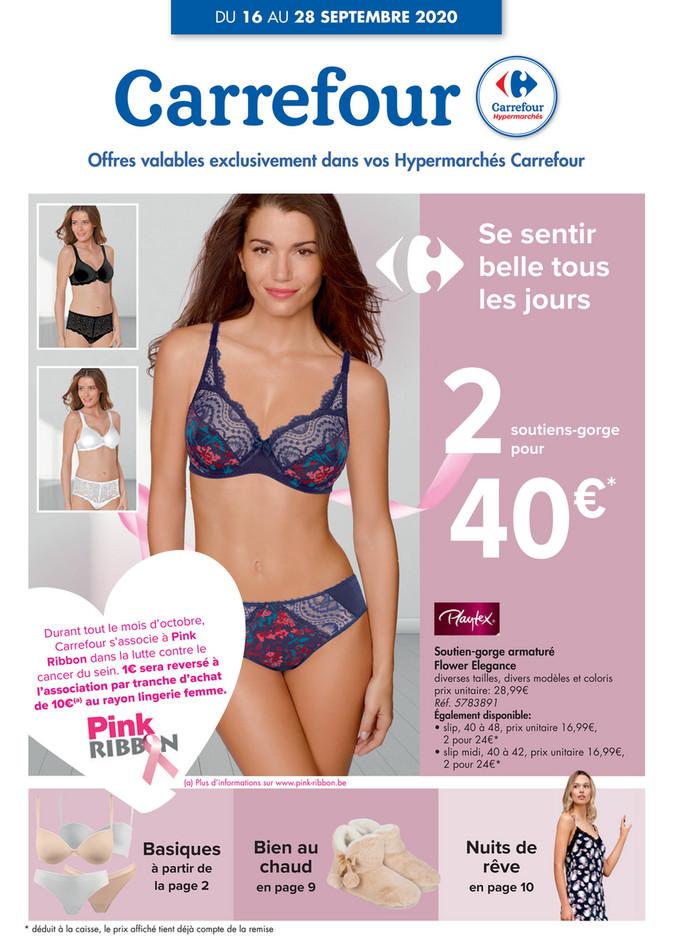 Folder Carrefour du 16/09/2020 au 28/09/2020 - Promotions de la semaine 38 lingerie