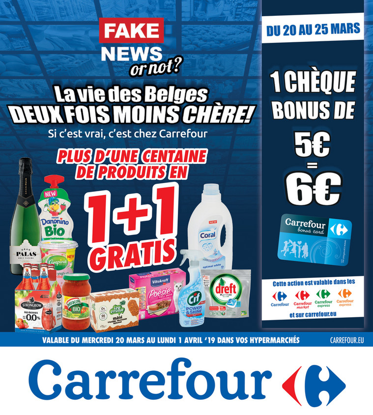 Folder Carrefour du 20/03/2019 au 25/03/2019 - 1+1 gratuit