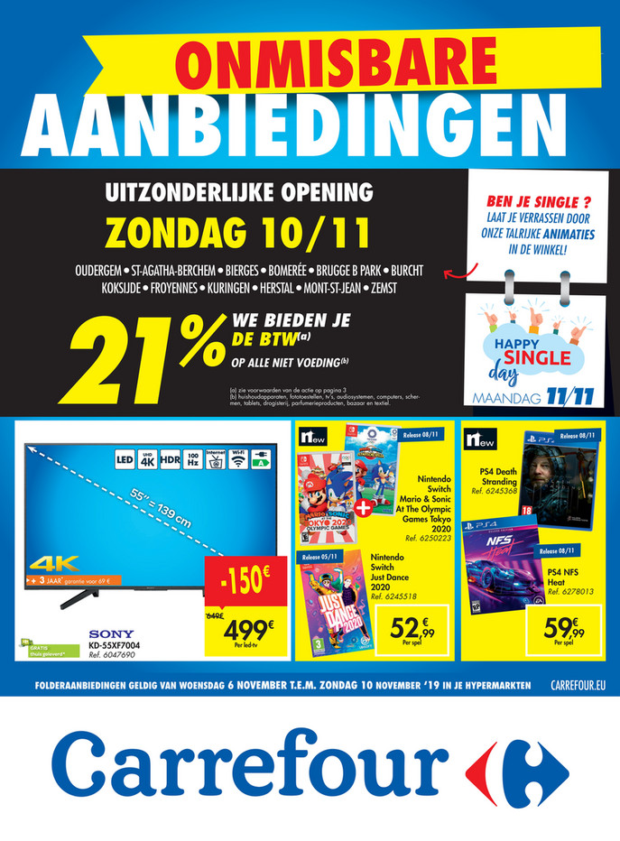 Carrefour folder van 06/11/2019 tot 10/11/2019 - Weekpromoties 45 Singleday