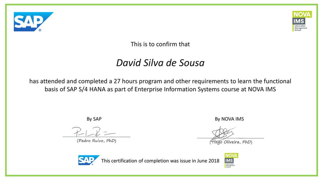 Nova Ims Certificate Of Completion Sap S4 Hana Page 1