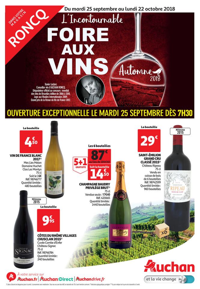 Folder Auchan du 25/09/2018 au 09/10/2018 - Foire aux vins