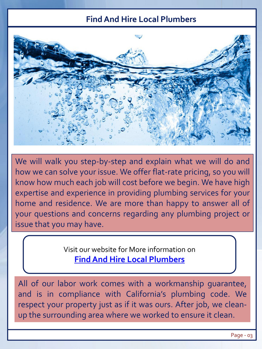 San Diego Plumbing Repair Plumbers In My Local Area Page 2 3 Created With Publitas Com