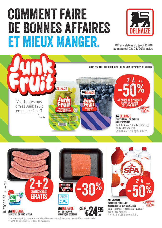 Folder Delhaize du 20/08/2018 au 22/08/2018 - Promotions de la semaine 34