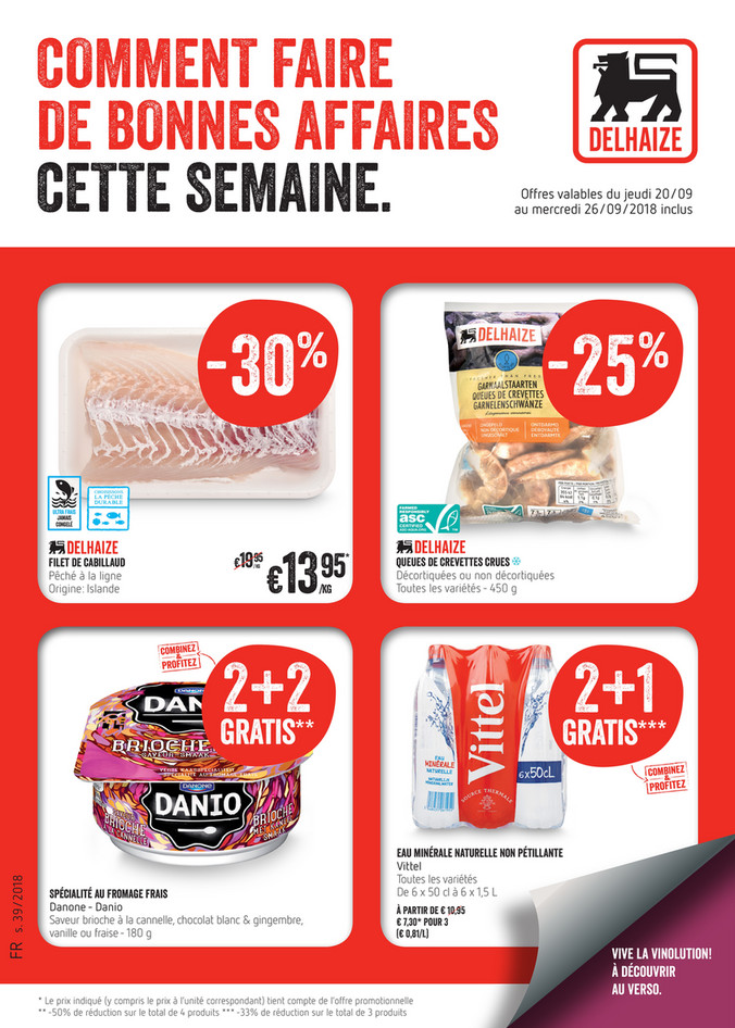 Folder Delhaize du 20/09/2018 au 26/09/2018 - Promotions de la semaine 39