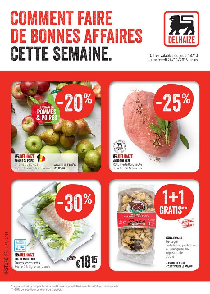 Folder Delhaize du 18/10/2018 au 24/10/2018 - Promotions de la semaine 43