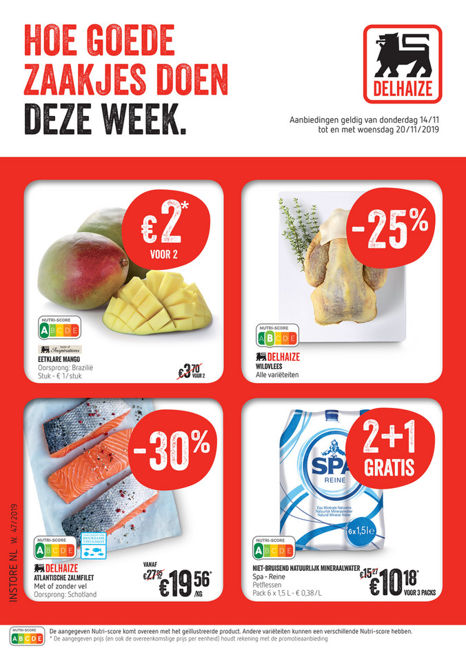 Delhaize folder van 14/11/2019 tot 20/11/2019 - Weekpromoties 47